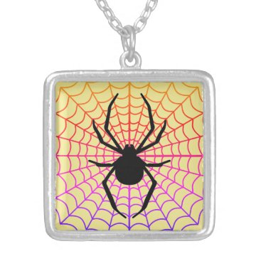 Halloween Themed Spider in Web Necklace