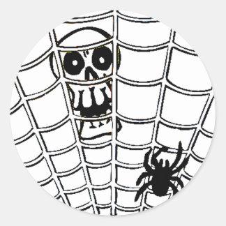 Spider in Web with Skull Classic Round Sticker