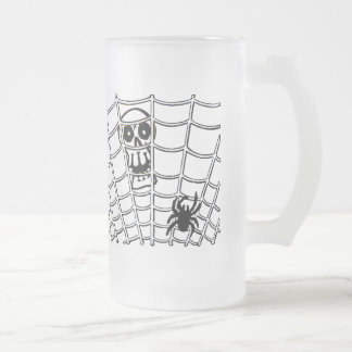 Spider in Web with Skull Frosted Glass Beer Mug
