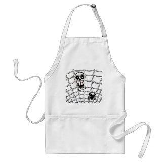 Spider in Web with Skull Halloween Apron
