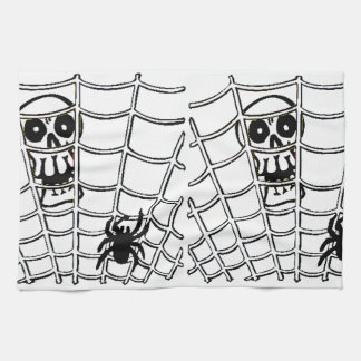Spider in Web with Skull Halloween Kitchen Towel