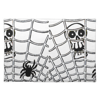 Spider in Web with Skull Halloween Placemats
