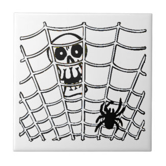 Spider in Web with Skull Halloween Tile