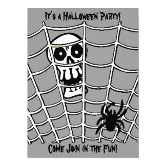 Spider in Web with Skull Invitation Card