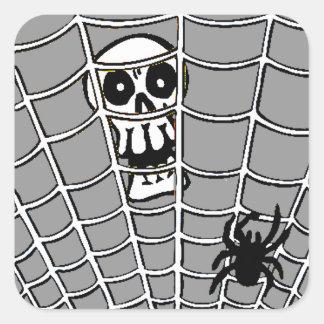 Spider in Web with Skull Square Sticker