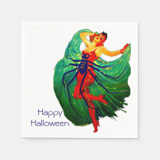Spider Lady Vintage Art Deco Halloween Party Paper Napkin