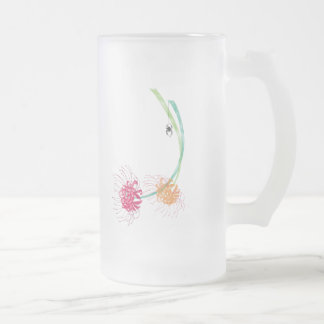 Spider Lily Frosted Glass Beer Mug
