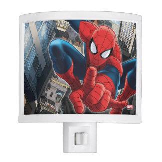 Spider-Man alto sobre la ciudad Luces De Noche