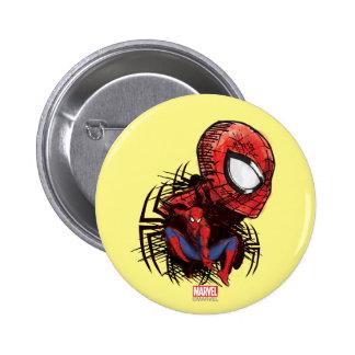 Spider-Man bosquejó el dibujo del marcador Pin Redondo De 2 Pulgadas