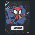 "Spider-Man | Chibi Spider-Man Web-Swinging iPad Air Cover<br><div class=""desc"">Check out this cute graphic of Spider-Man web-swinging while wearing his brown backpack.</div>"