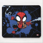 "Spider-Man | Chibi Spider-Man Web-Swinging Mouse Pad<br><div class=""desc"">Check out this cute graphic of Spider-Man web-swinging while wearing his brown backpack.</div>"