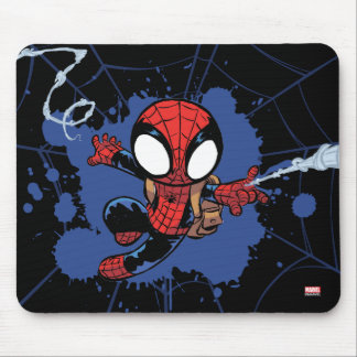 Spider-Man | Chibi Spider-Man Web-Swinging Mouse Pad