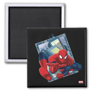 Spider-Man City Character Graphic 2 Inch Square Magnet