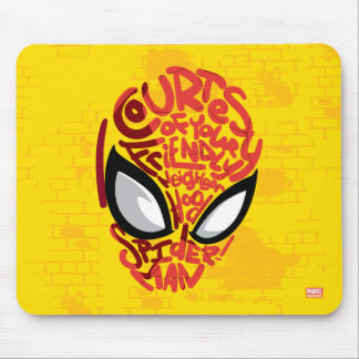 "Spider-Man | ""Courtesy"" Quote Typographic Head Mouse Pad"