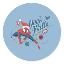 """Spider-Man """"Deck The Walls"""" Classic Round Sticker"""