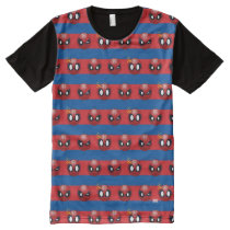 Spider-Man Emoji Stripe Pattern All-Over-Print T-Shirt