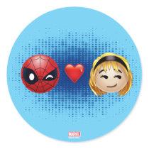 Spider-Man & Gwen Heart Emoji Classic Round Sticker