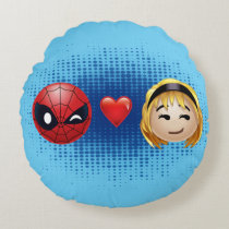 Spider-Man & Gwen Heart Emoji Round Pillow