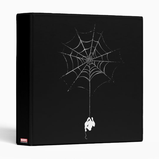 Spider Man Hanging From Web Silhouette 3 Ring Binder