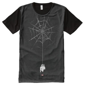 Spider-Man Hanging From Web Silhouette All-Over Print Shirt