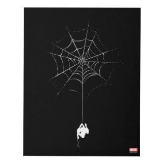 Spider-Man Hanging From Web Silhouette Panel Wall Art