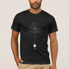 Spider-man Hanging From Web Silhouette T-shirt at Zazzle