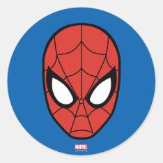 Spider-man Head Icon Classic Round Sticker at Zazzle