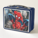 """Spider-Man High Above the City Metal Lunch Box<br><div class=""""desc"""">Spider-Man   Check out Spider-Man leaping high above the city and poised to shoot more webbing.</div>"""
