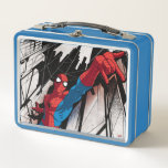 """Spider-Man In Abstract City Metal Lunch Box<br><div class=""""desc"""">Spider-Man   Spider-Man prepares to web-sling through this abstract,  geometric city.</div>"""