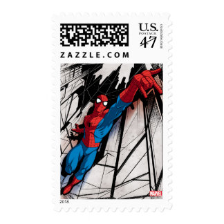 Spider-Man In Abstract City Stamp