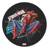 Spider-Man in Fractured Web Graphic Classic Round Sticker