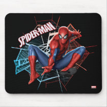 Spider-Man in Fractured Web Graphic Mouse Pad