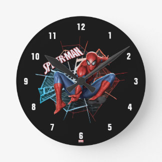 Spider-Man in Fractured Web Graphic Round Clock