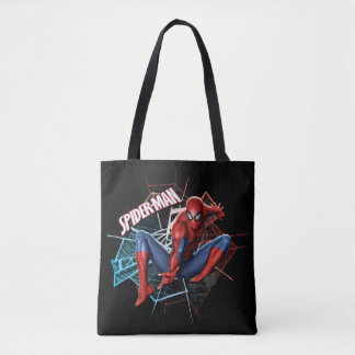 Spider-Man in Fractured Web Graphic Tote Bag