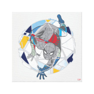Spider-Man In Kaleidoscope Web Canvas Print