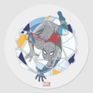 Spider-Man In Kaleidoscope Web Classic Round Sticker