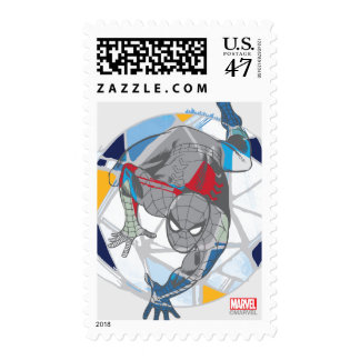 Spider-Man In Kaleidoscope Web Postage