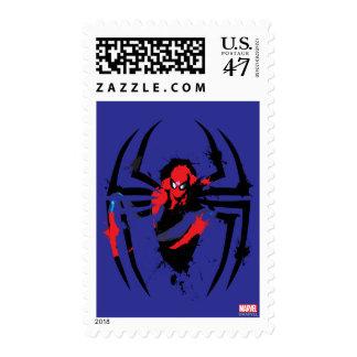 Spider-Man in Spider Shaped Ink Splatter Postage Stamp