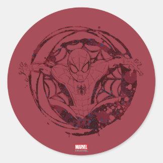 Spider-Man In Web Graphic Classic Round Sticker