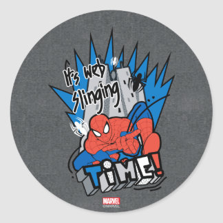 Spider-Man It's Web Slinging Time Classic Round Sticker