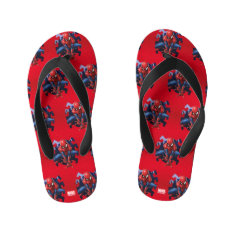 Spider-man Leaping Out Of Spider Graphic Kid's Flip Flops at Zazzle