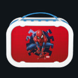 """Spider-Man Leaping Out Of Spider Graphic Lunch Box<br><div class=""""desc"""">Check out Spider-Man about to leap through this spider cutout of the city! Customize your own Spider-Man merch by clicking the customize button to resize the artwork or add your own text!</div>"""