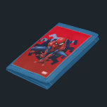 """Spider-Man Leaping Out Of Spider Graphic Tri-fold Wallet<br><div class=""""desc"""">Check out Spider-Man about to leap through this spider cutout of the city! Customize your own Spider-Man merch by clicking the customize button to resize the artwork or add your own text!</div>"""