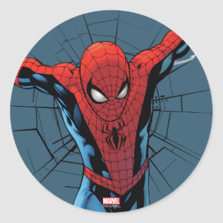 Spider-Man Leaping With Webbing Classic Round Sticker