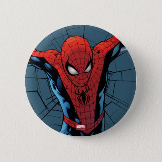 Spider-Man Leaping With Webbing Pinback Button