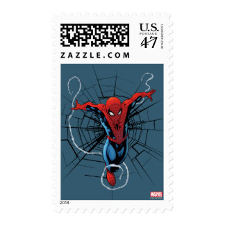 Spider-Man Leaping With Webbing Postage Stamp