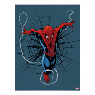 Spider-Man Leaping With Webbing Poster