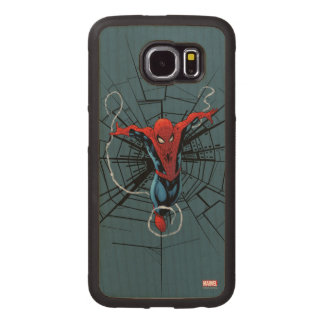 Spider-Man Leaping With Webbing Wood Phone Case