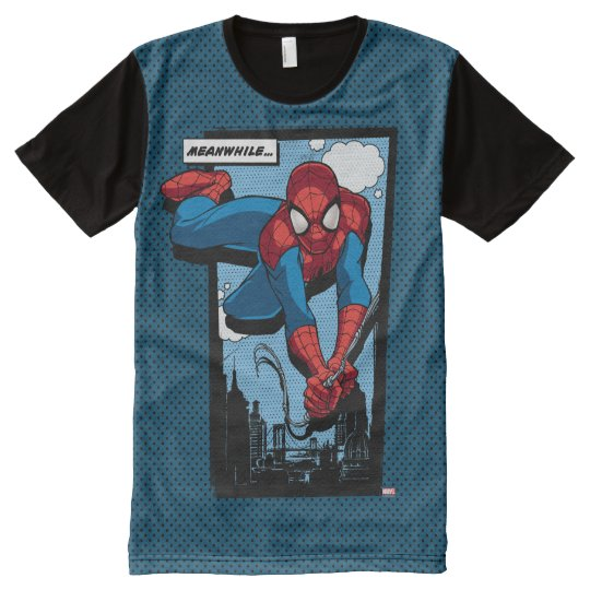 f6cf8c252 Spider-Man Meanwhile Comic Panel All-Over-Print T-Shirt   Zazzle.com