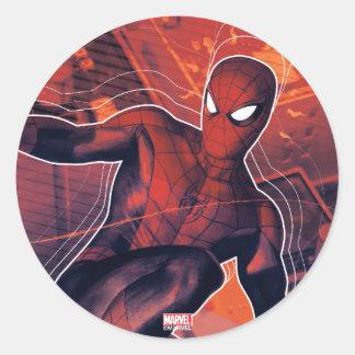 Spider-Man Mid-Air Spidey Sense Classic Round Sticker
